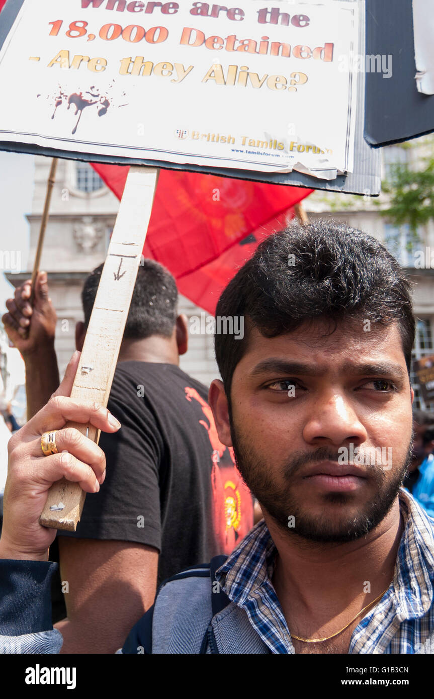 London, UK.  12 May 2016.  Tamil demonstrators gather in Pall Mall to make their views known as Prime Minister, David Cameron, and other G20 leaders meet in nearby Lancaster House for the Anti-Corruption Summit 2016. Credit:  Stephen Chung / Alamy Live News Stock Photo