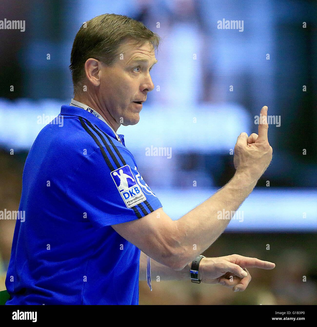 Kiel's coach Alfred Gislason reacts during the Bundesliga handball match SC Magdeburg vs THW Kiel in Magdeburg, - Stock Image