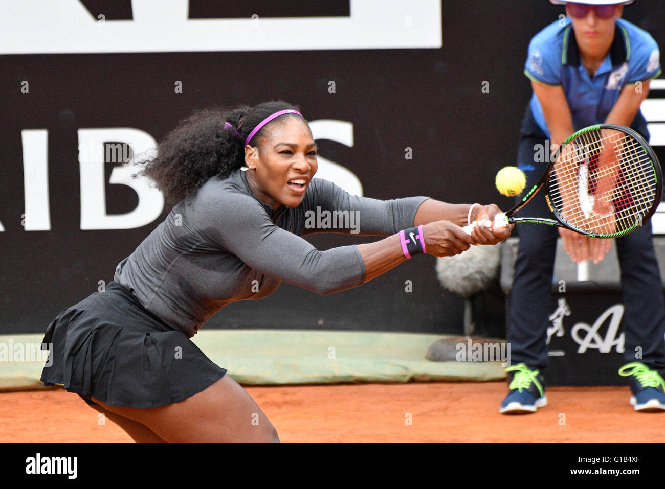Rome, Italy. 12th May, 2016. Serena Williams of USA in action against Christiana Mchale of USA during  The Internazionali Stock Photo