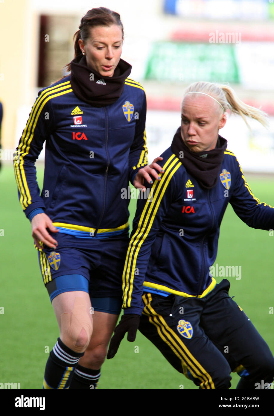 LOTTA SCHELIN and CAROLINE SEGER Football player in Swedish national team - Stock Image