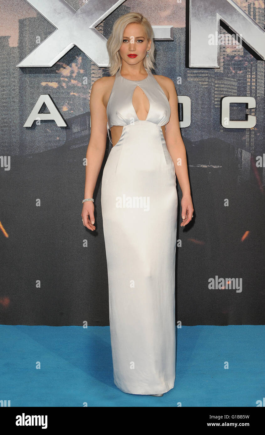 Jennifer Lawrence attends the Global Fan Screening of X-Men Apocalypse at BFI IMAX in London. 9th May 2016 © - Stock Image