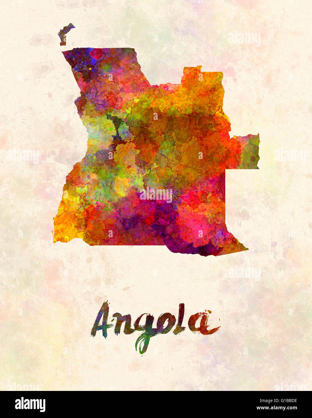 Angola in watercolor - Stock Image