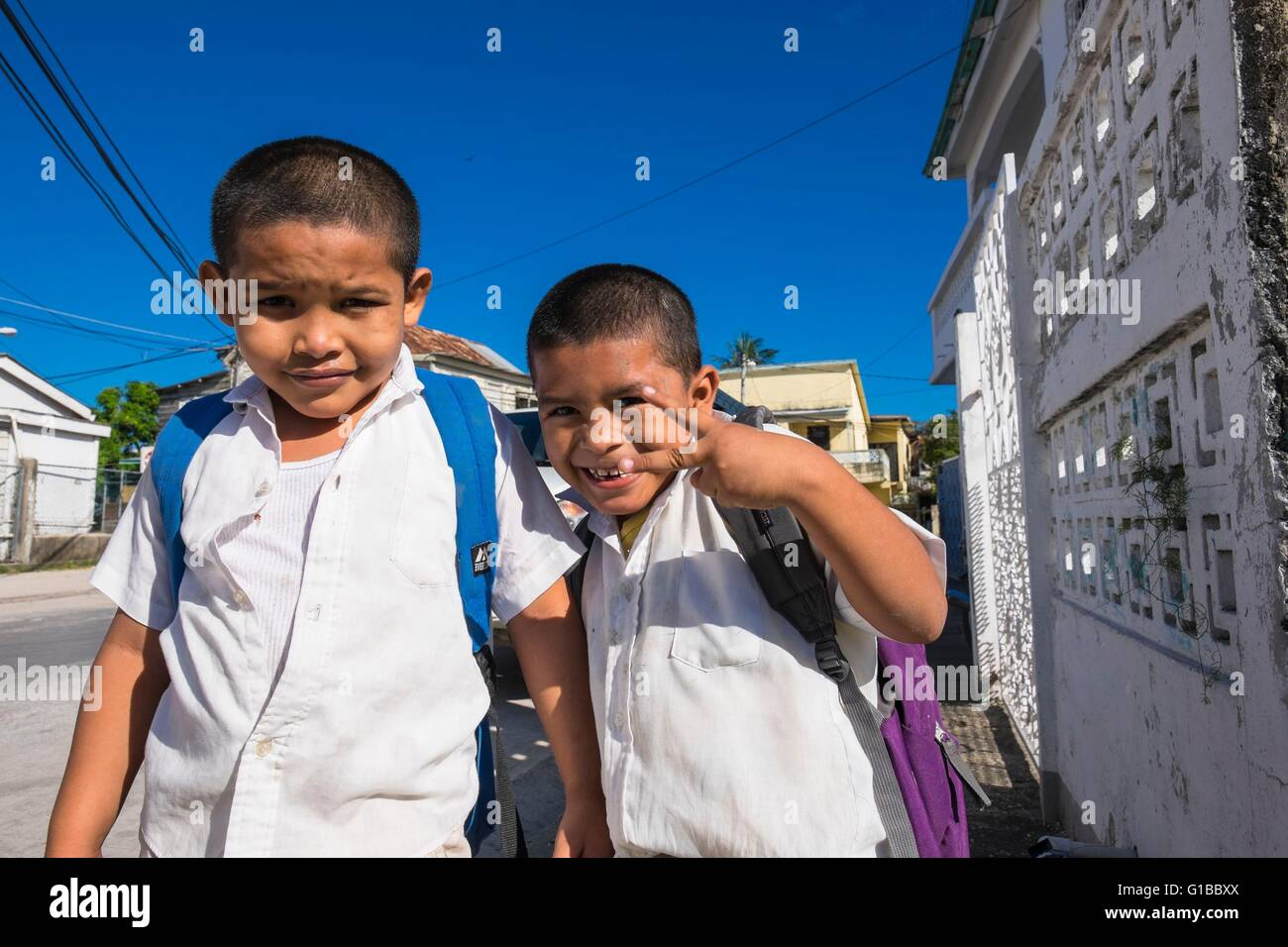 Belize, Belize district, Belize City, after school - Stock Image