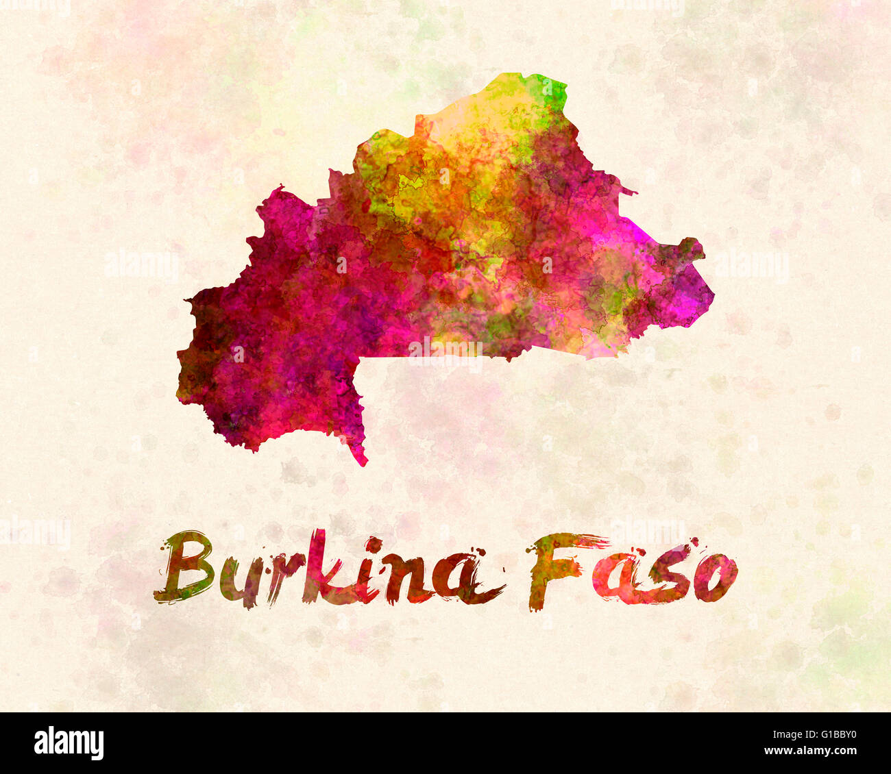 Burkina in watercolor - Stock Image