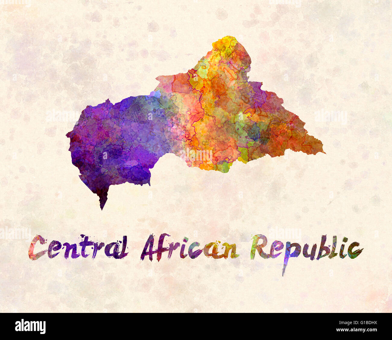 Central African Republic in watercolor - Stock Image
