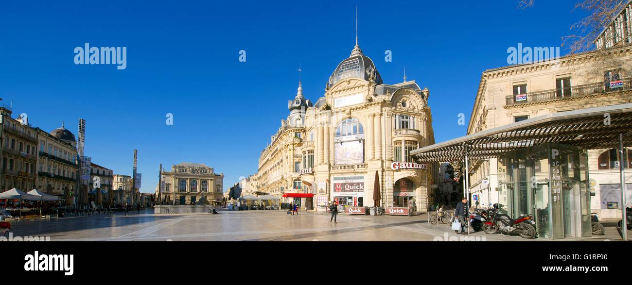 France, Herault, Montpellier, historical center, the Ecusson, Place de la Comedie (Comedy Square) with the Opera Stock Photo