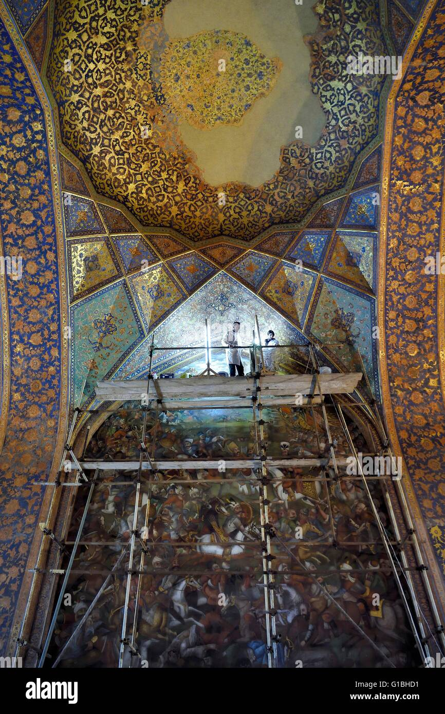 Iran, Isfahan Province, Isfahan, Chehel-sotoon ( Forty Columns) Palace, listed as World Heritage by UNESCO, the Stock Photo