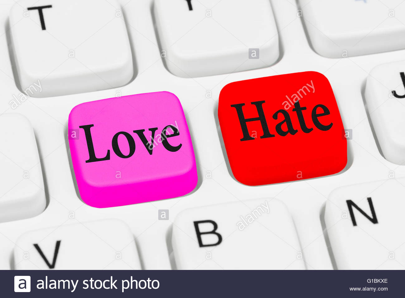 Love or Hate keys on a computer keyboard. - Stock Image