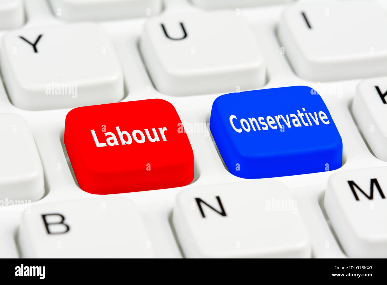 UK General Election concept. Labour and Conservative voting buttons on a computer keyboard. - Stock Image