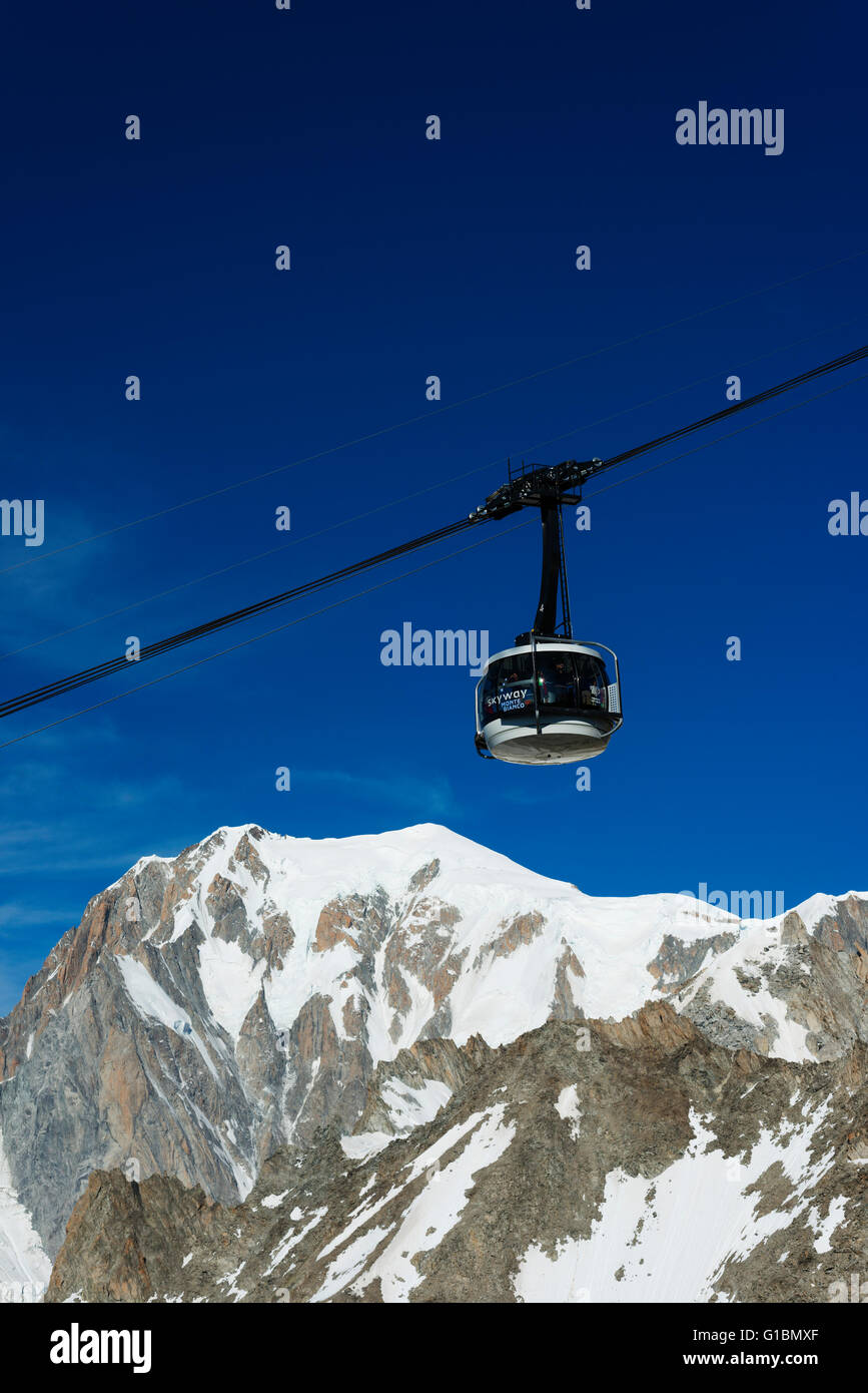 Europe; Italy; Italian Alps; Courmayeur; new Skyway revolving cable car (2015) to Monte Bianco (Mont Blanc) - Stock Image