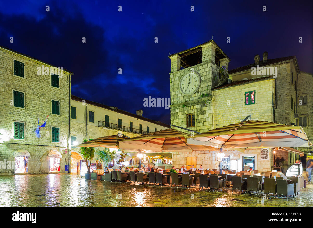 Europe, Balkans, Montenegro, Kotor, clock tower, Unesco site - Stock Image