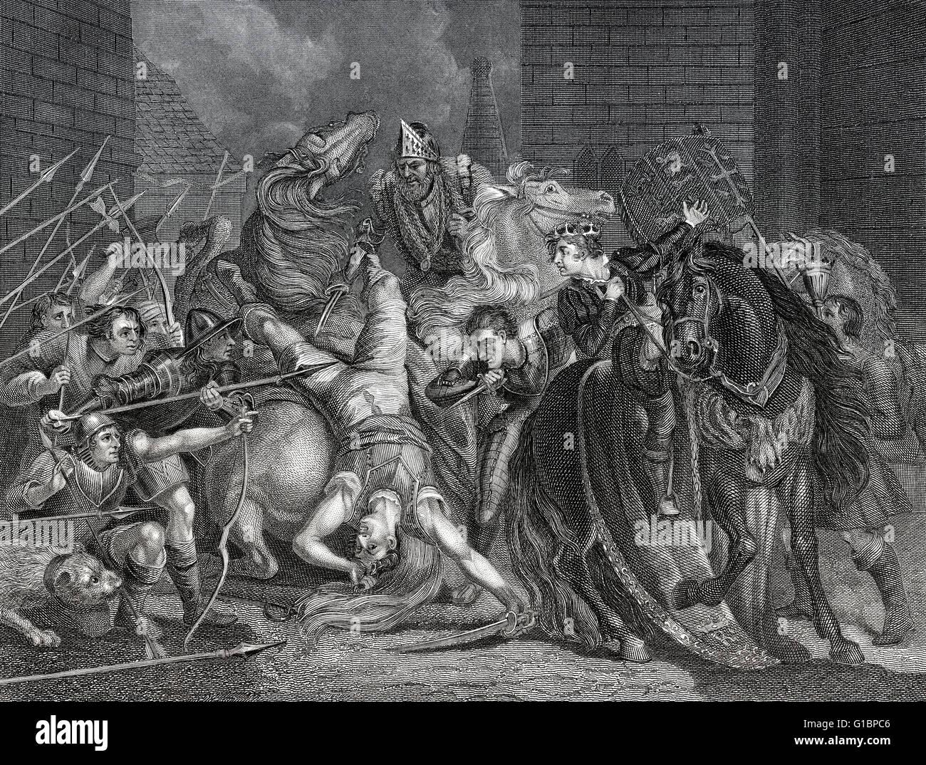 Sir William Walworth, Lord Mayor of London, killing Wat Tyler at Smithfield, English peasants' revolt of 1381 - Stock Image