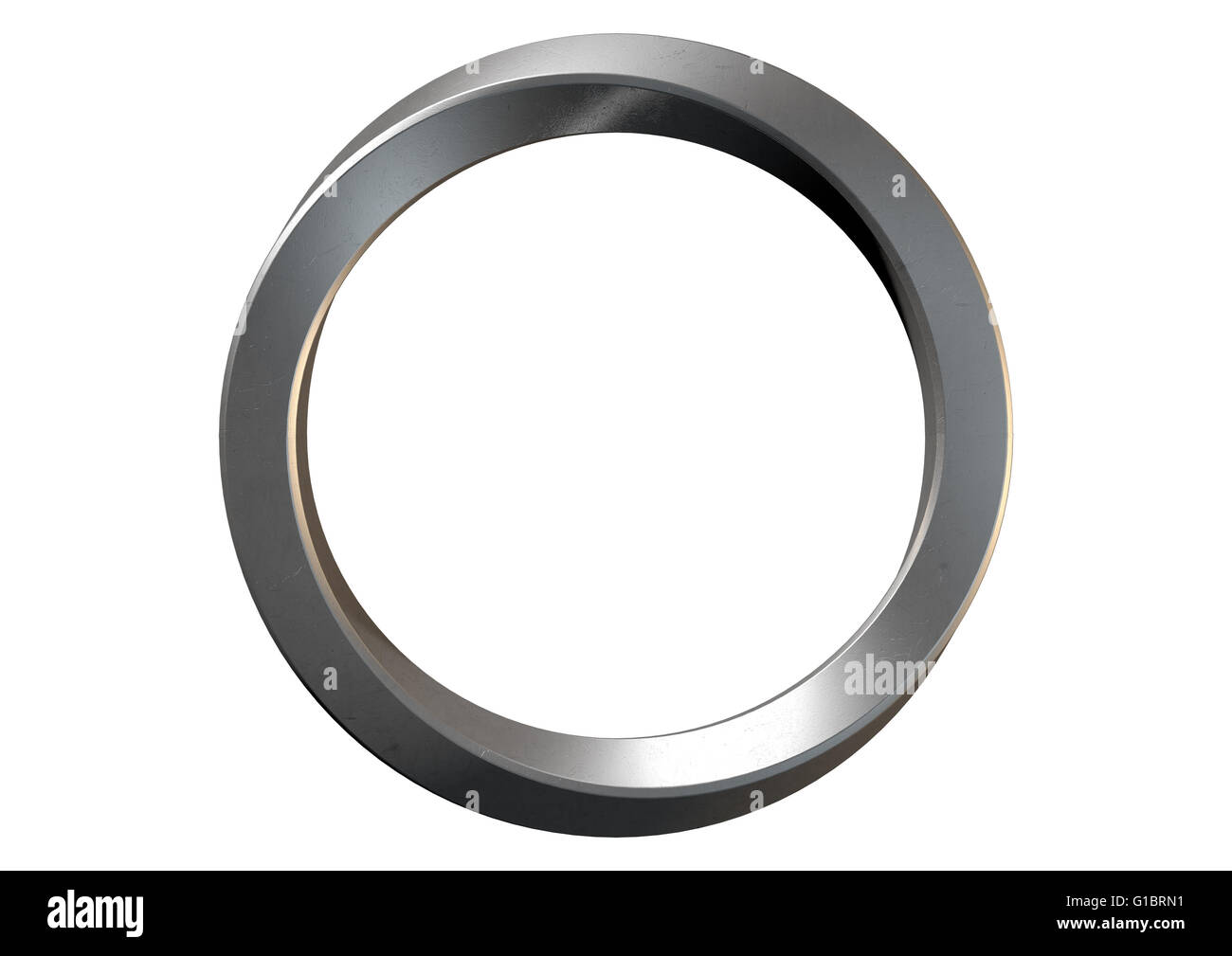 A 3D rendering of an infinity symbol ring made of shiny steel on an isolated white studio background - Stock Image