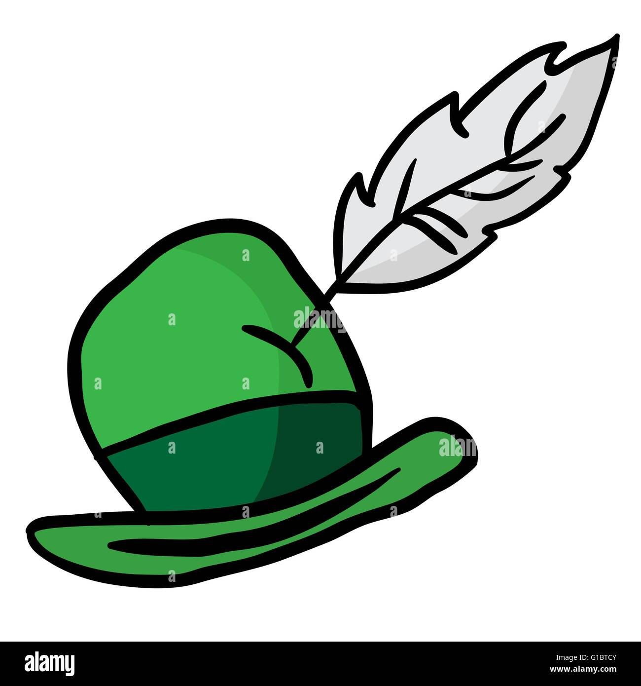 green hat with feather - Stock Image