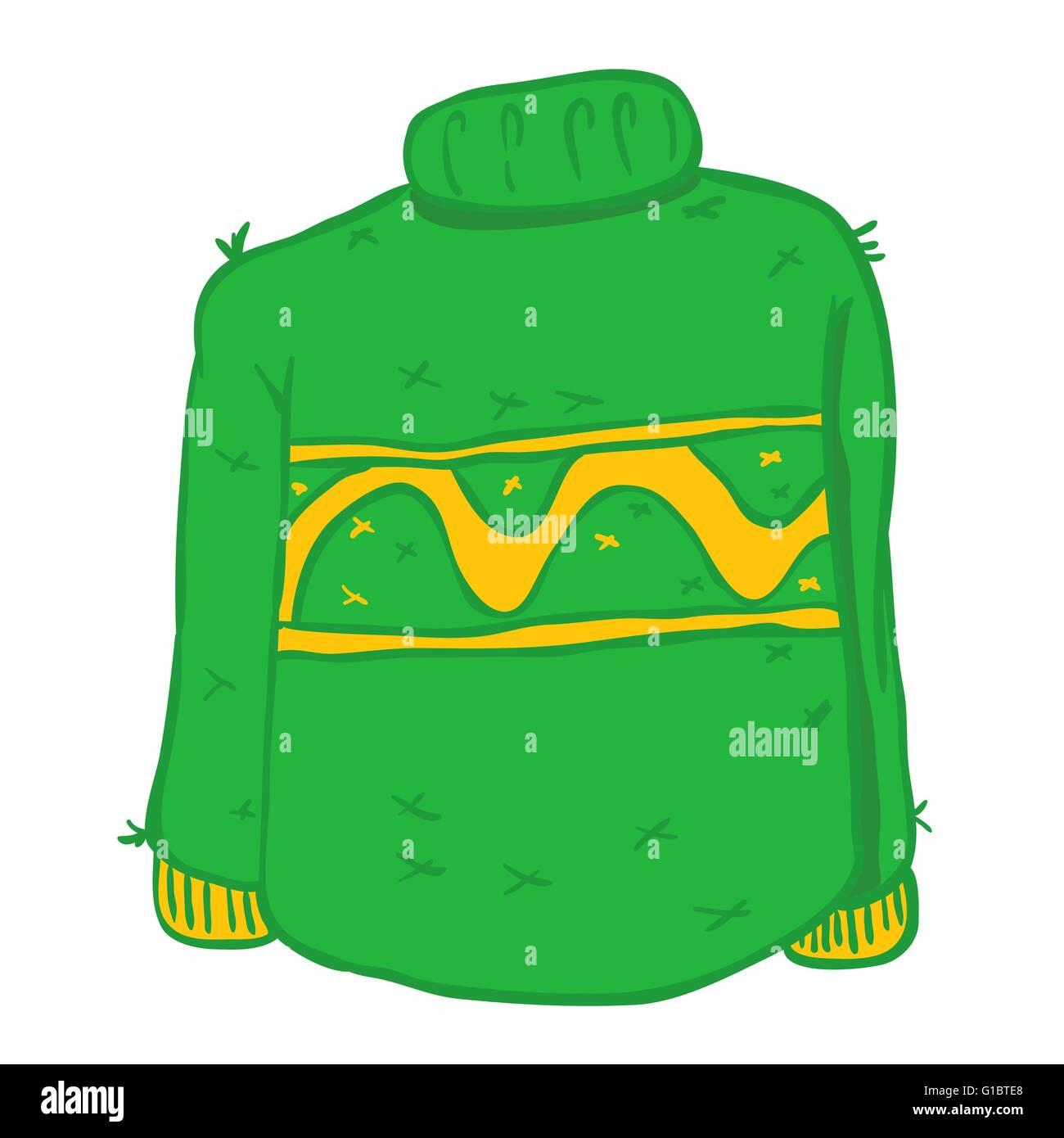 green wool sweater cartoon doodle - Stock Vector