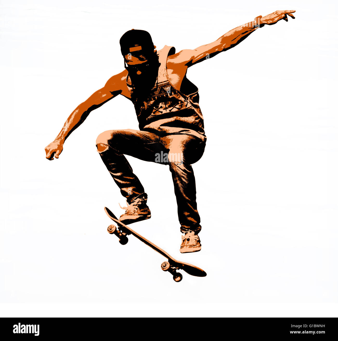 Skateboarder leaping in the air - Stock Image