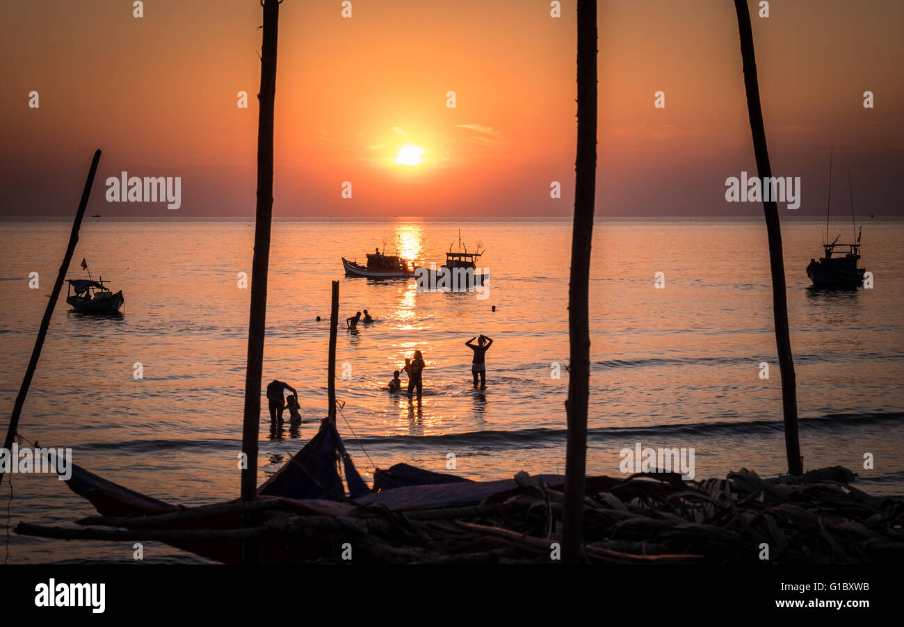 Sunset in the resort island of Phu Quoc off the coast of Southern Vietnam - Stock Image