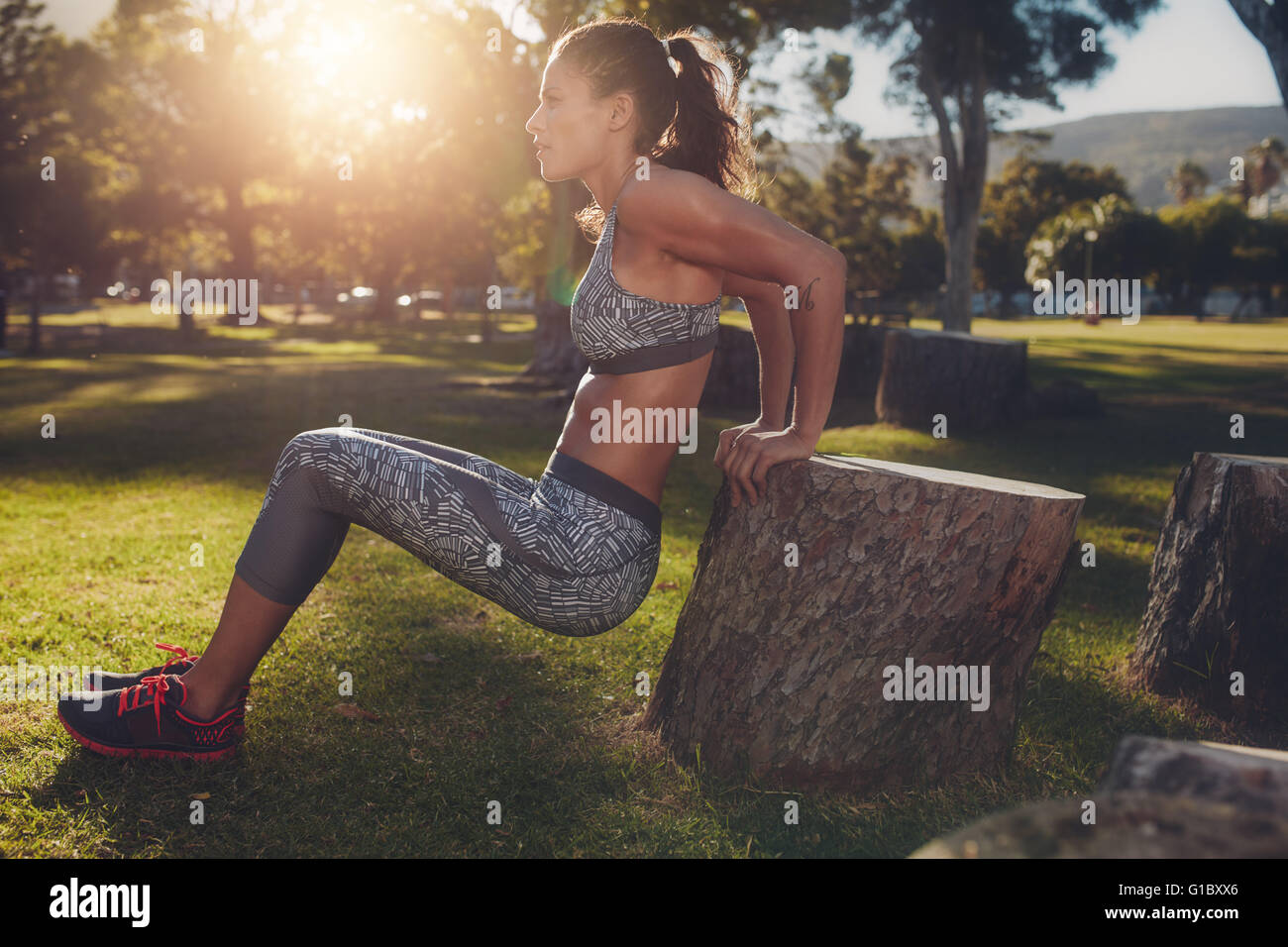Young woman practicing push ups in a park. Side view shot of muscular female exercising with a log. - Stock Image