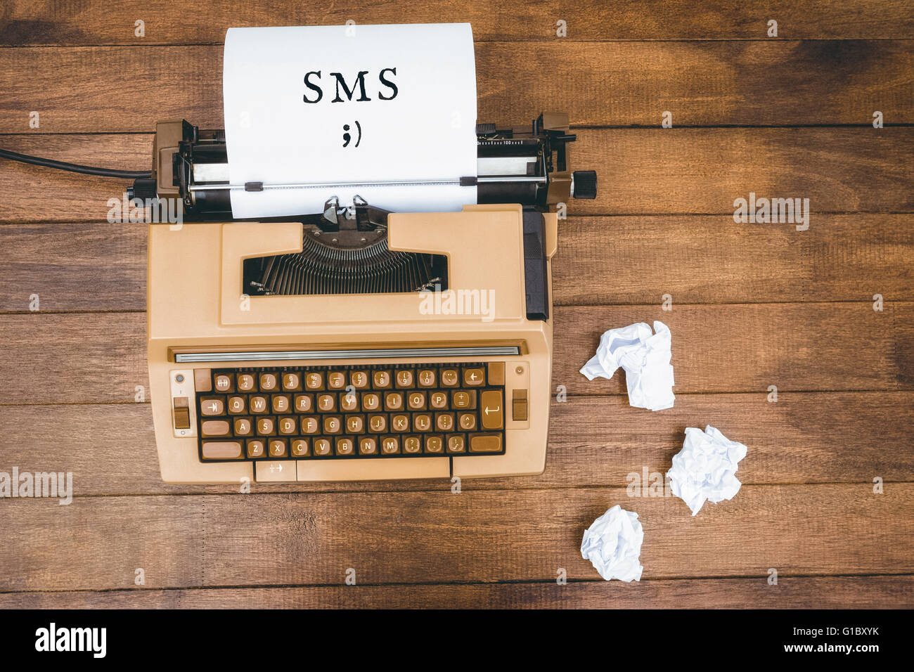 Composite image of sms message on a white background - Stock Image