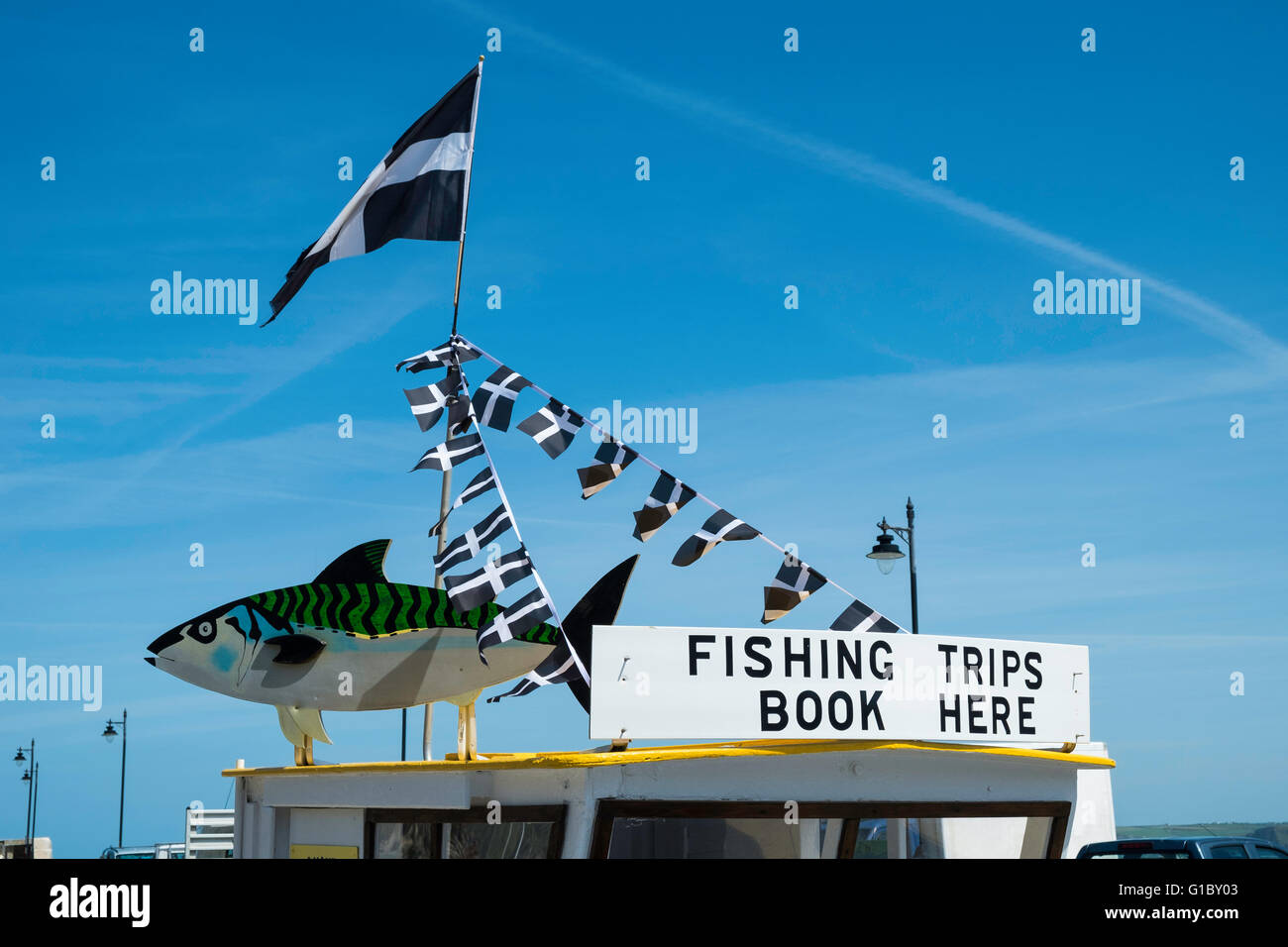 the roof of a fishing trip shack in newquay harbour cornwall - Stock Image