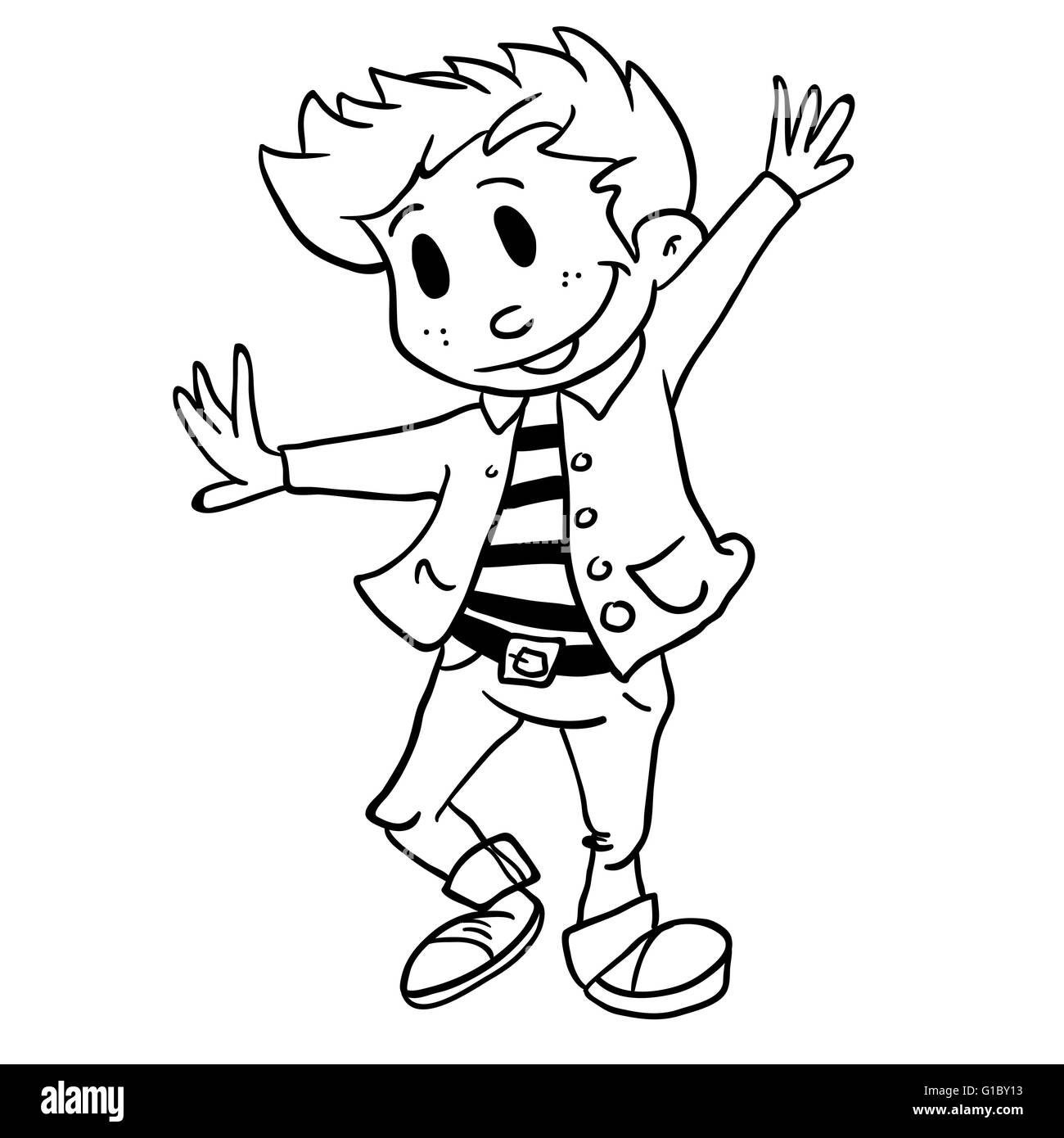 Simple Black And White Boy Dancing Cartoon