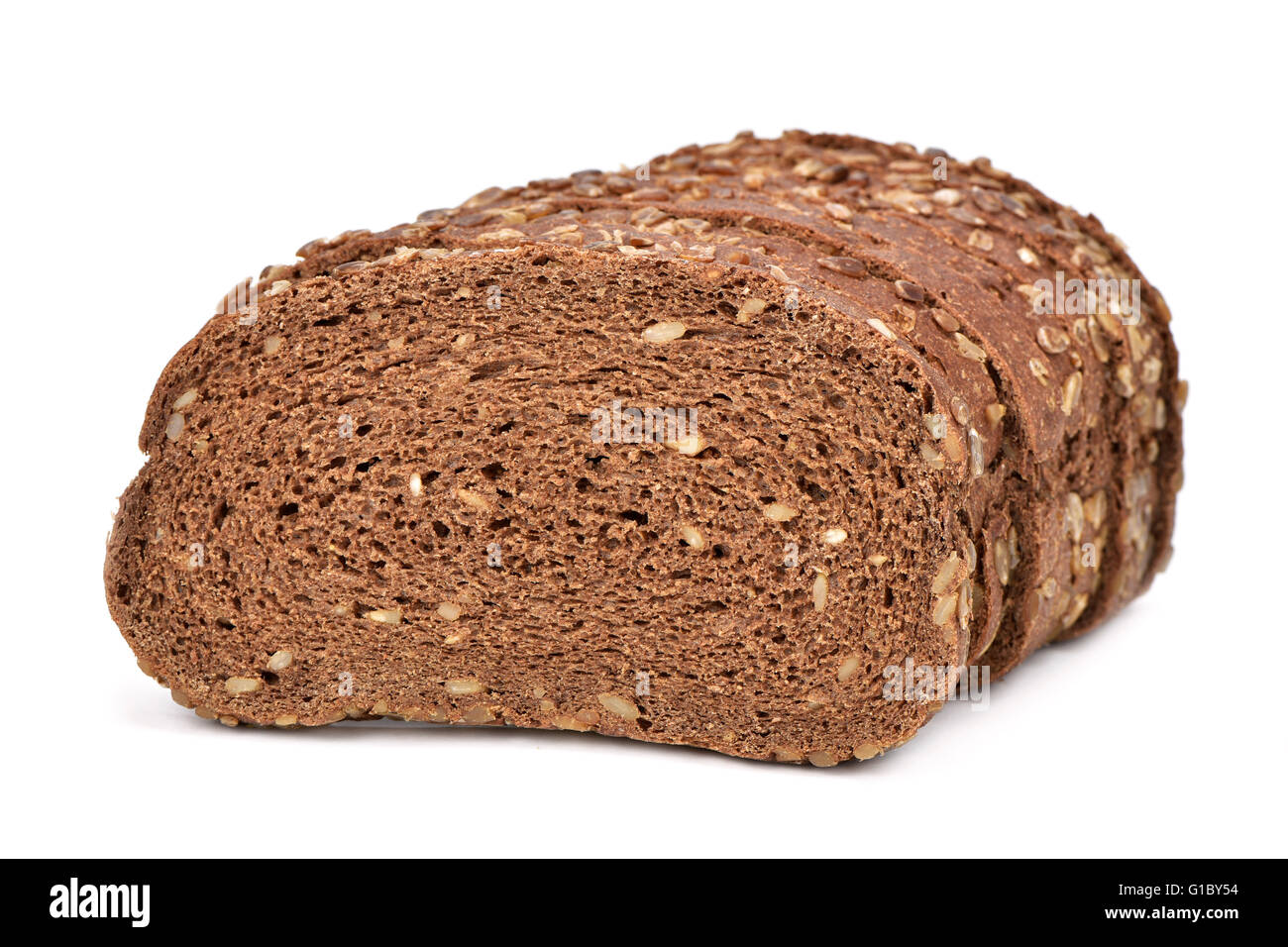 some slices of rye bread on a white background - Stock Image