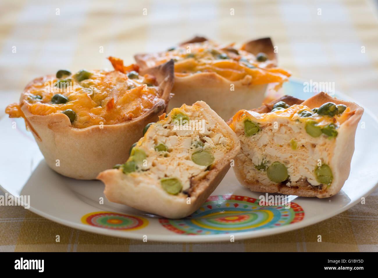 Gluten free chicken quiche with peas, food - Stock Image