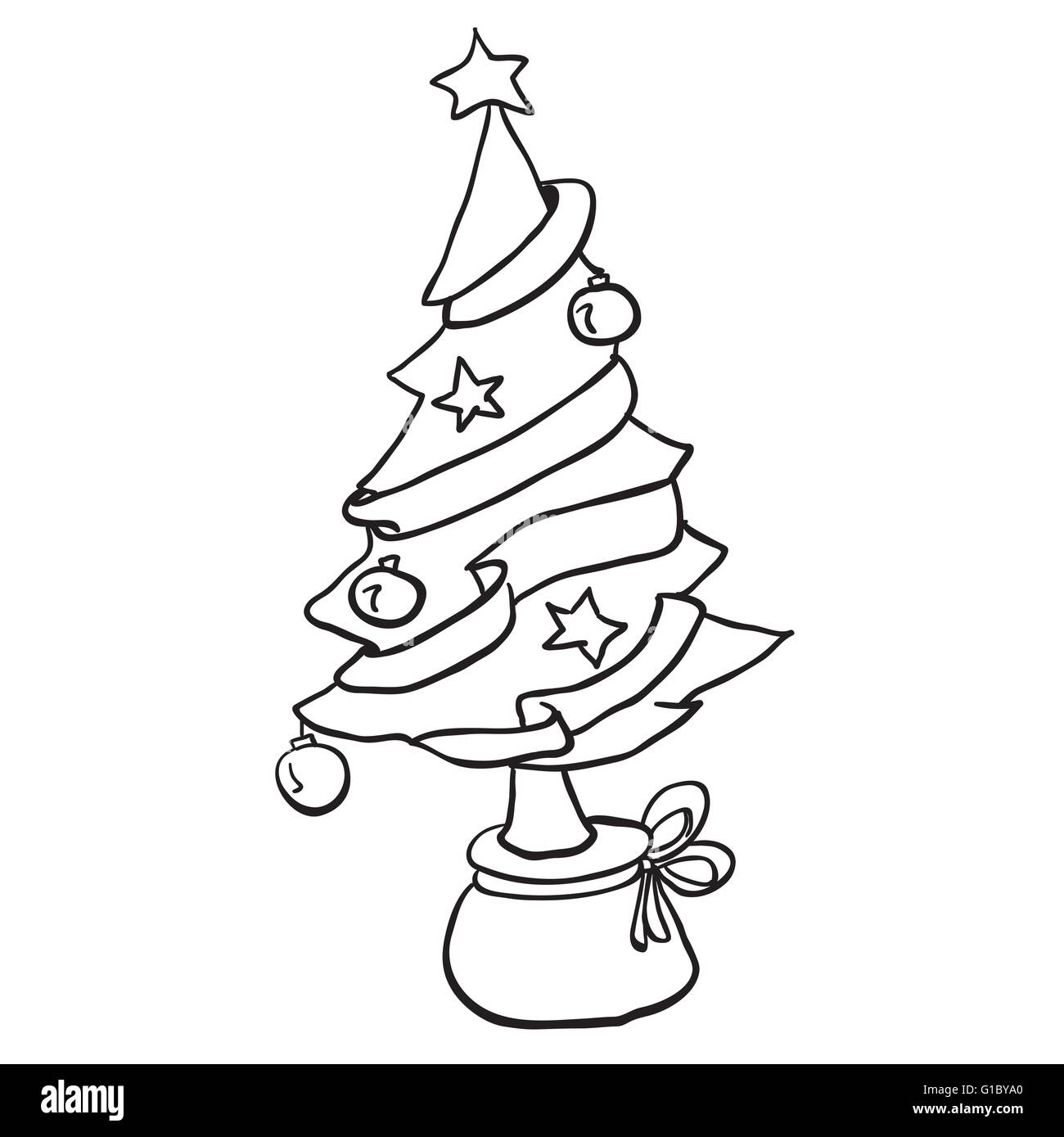 Simple Black And White Christmas Tree Cartoon Stock Vector Art