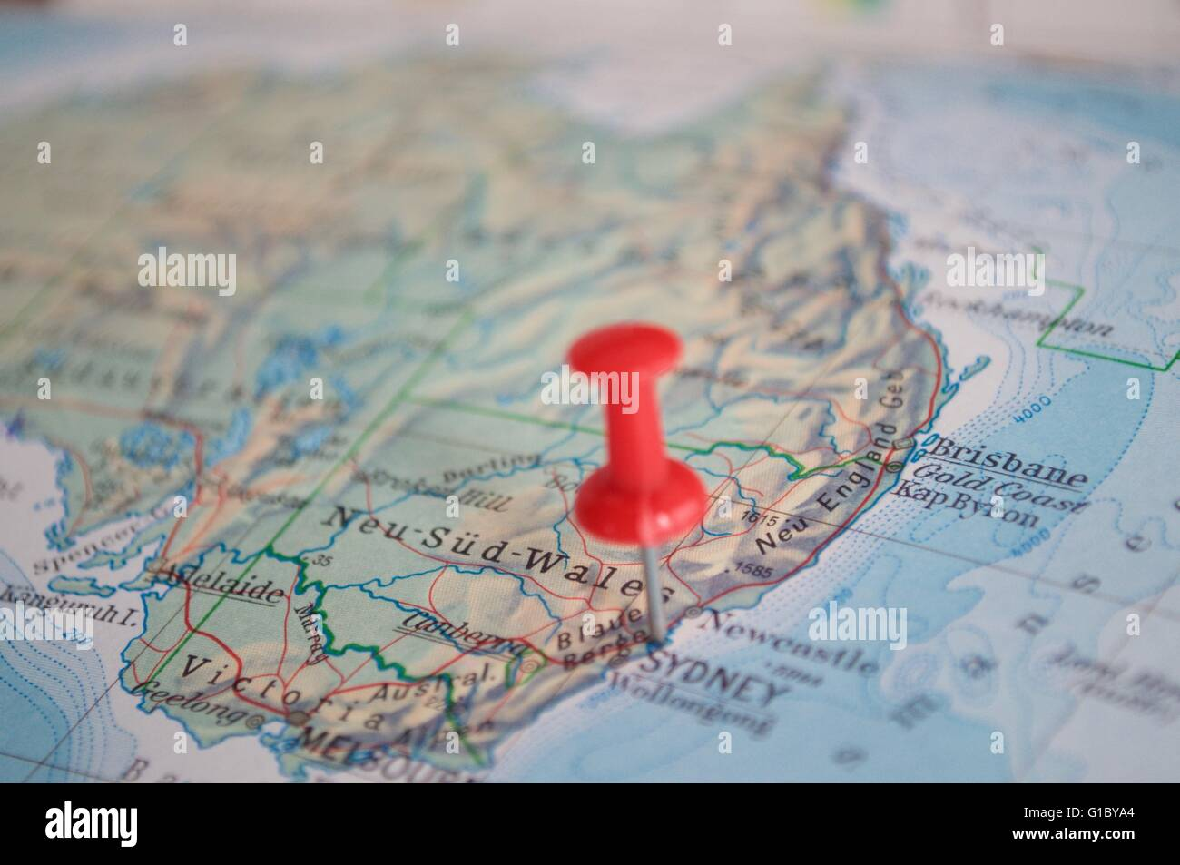 Sydney marked with pin on map with selective focus stock photo sydney marked with pin on map with selective focus gumiabroncs Gallery