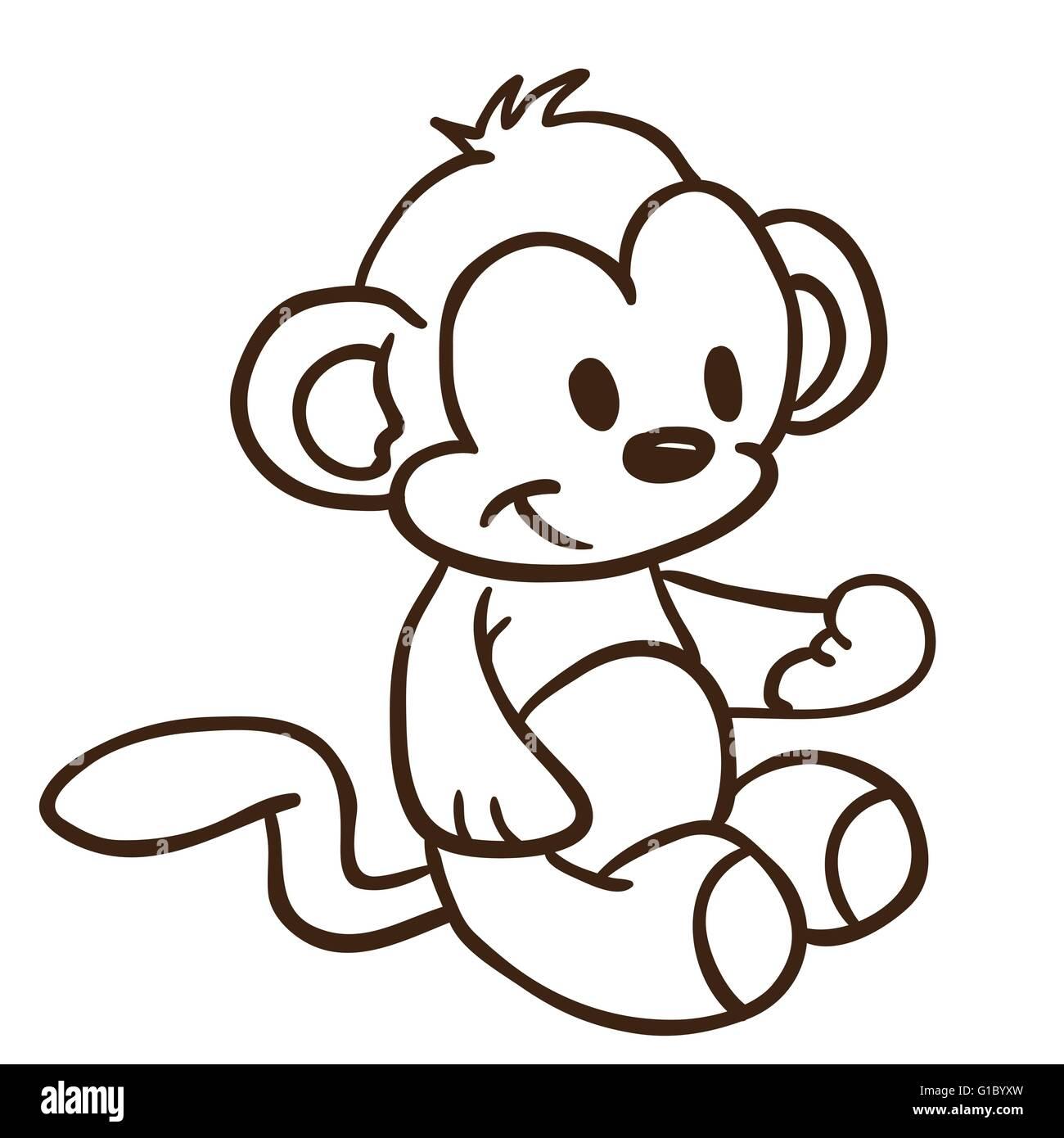 Simple Black And White Monkey Cartoon