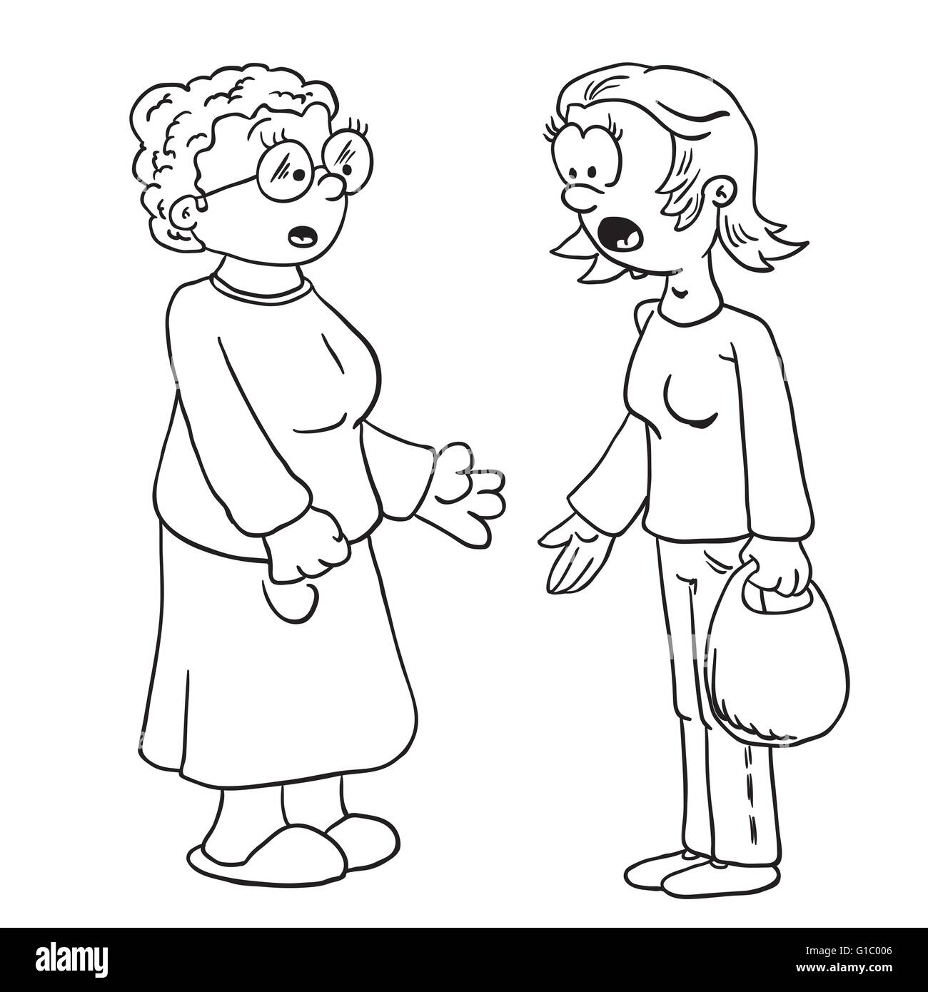 simple black and white mother and grandmother talking cartoon - Stock Image