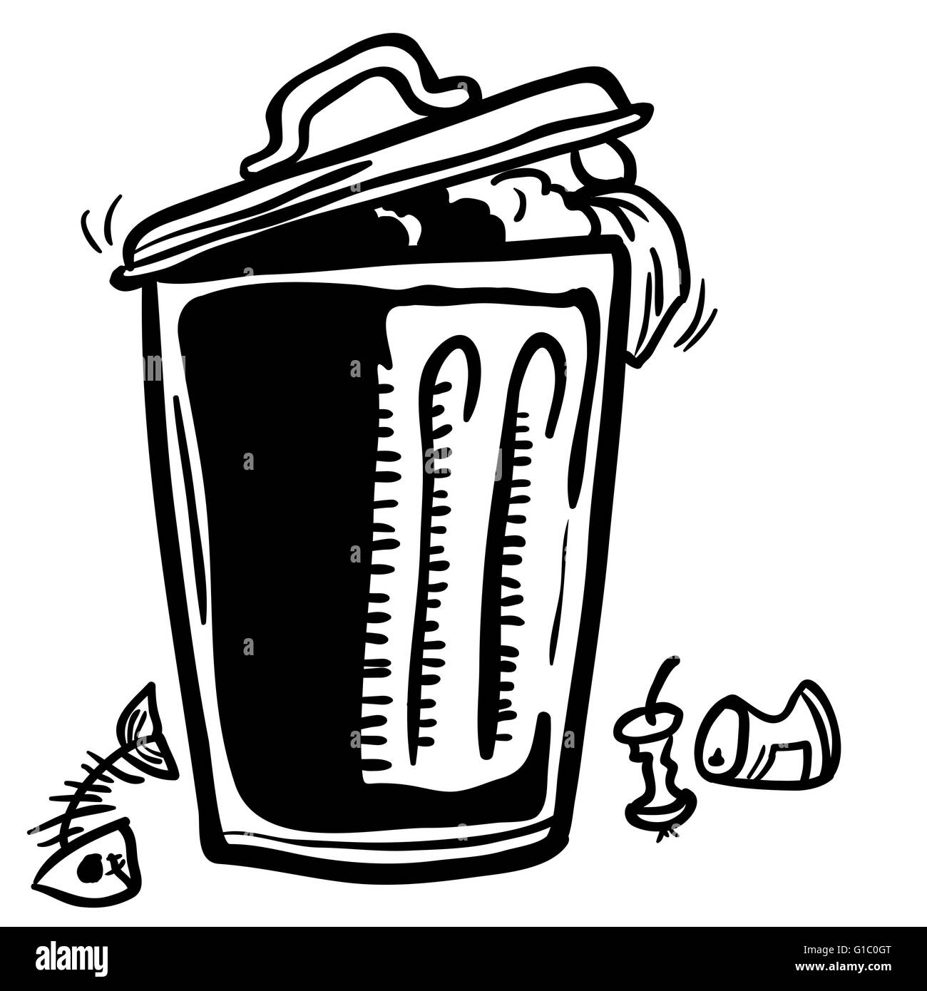 trash can with garbage around cartoon doodle - Stock Image