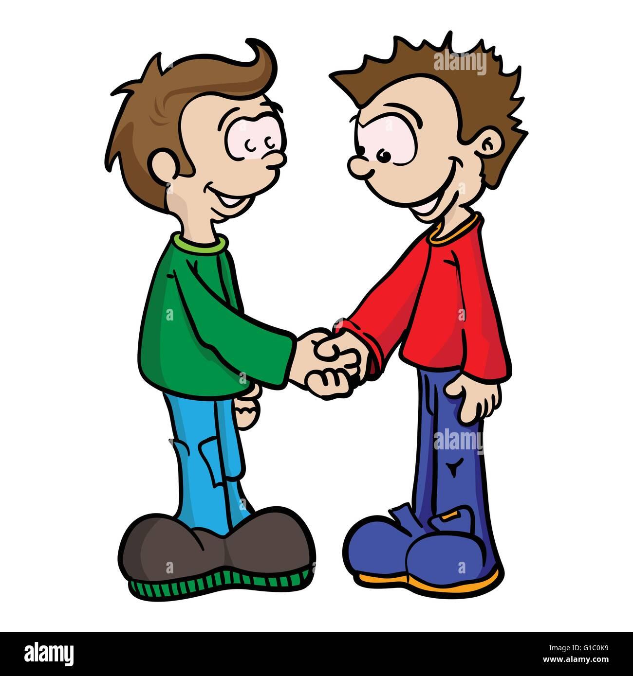 cartoon illustration of two boys shaking hands stock vector art rh alamy com shake hands cartoon shaking hands cartoon pic