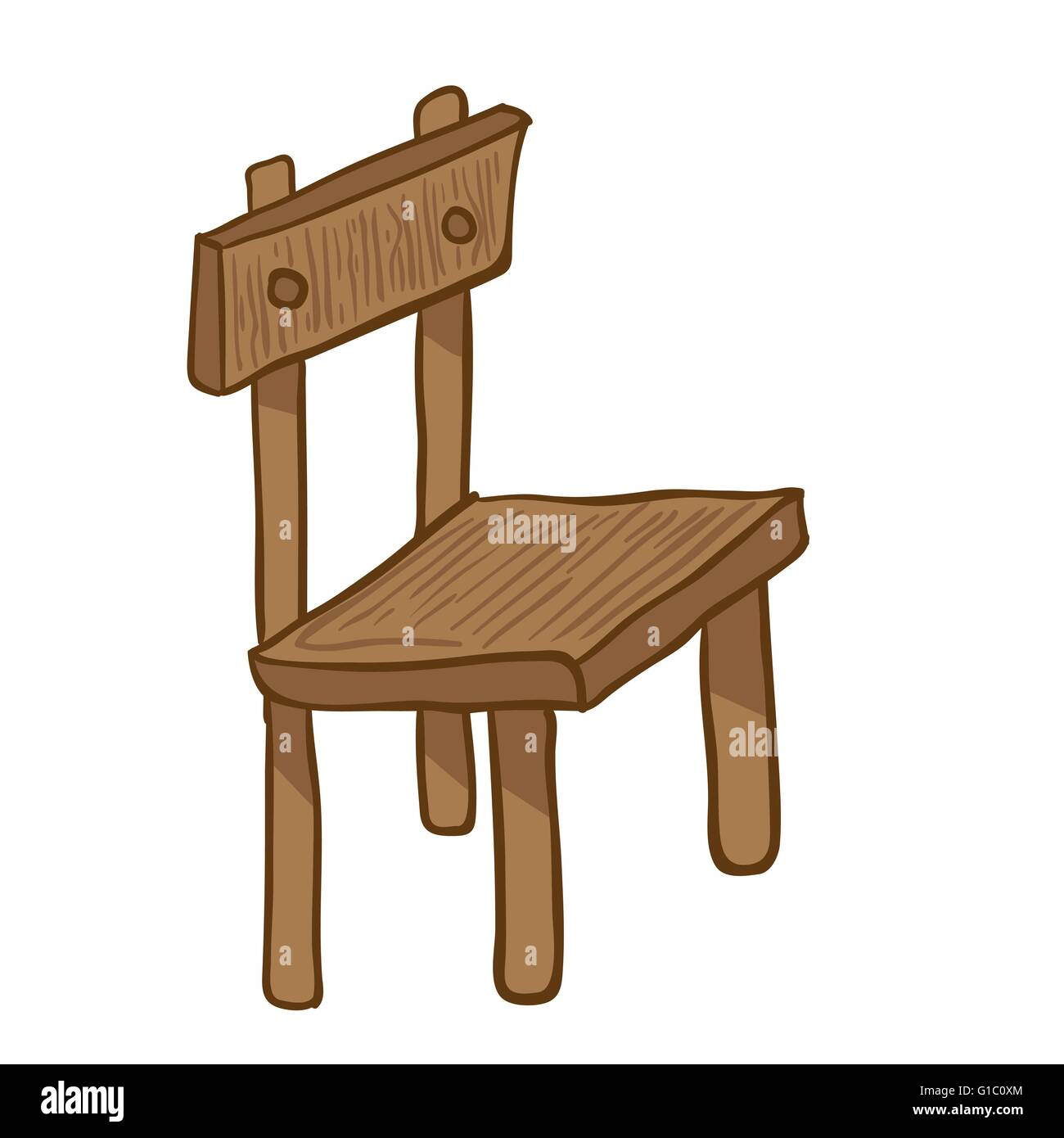 Wooden chair cartoon doodle on white stock vector art