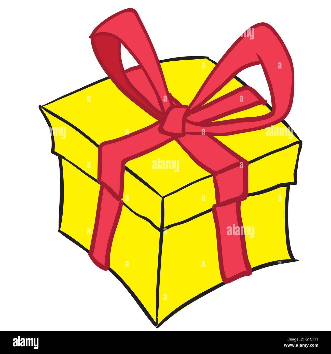 Yellow Gift Box With Red Ribbon Cartoon Doodle Stock Vector Image Art Alamy
