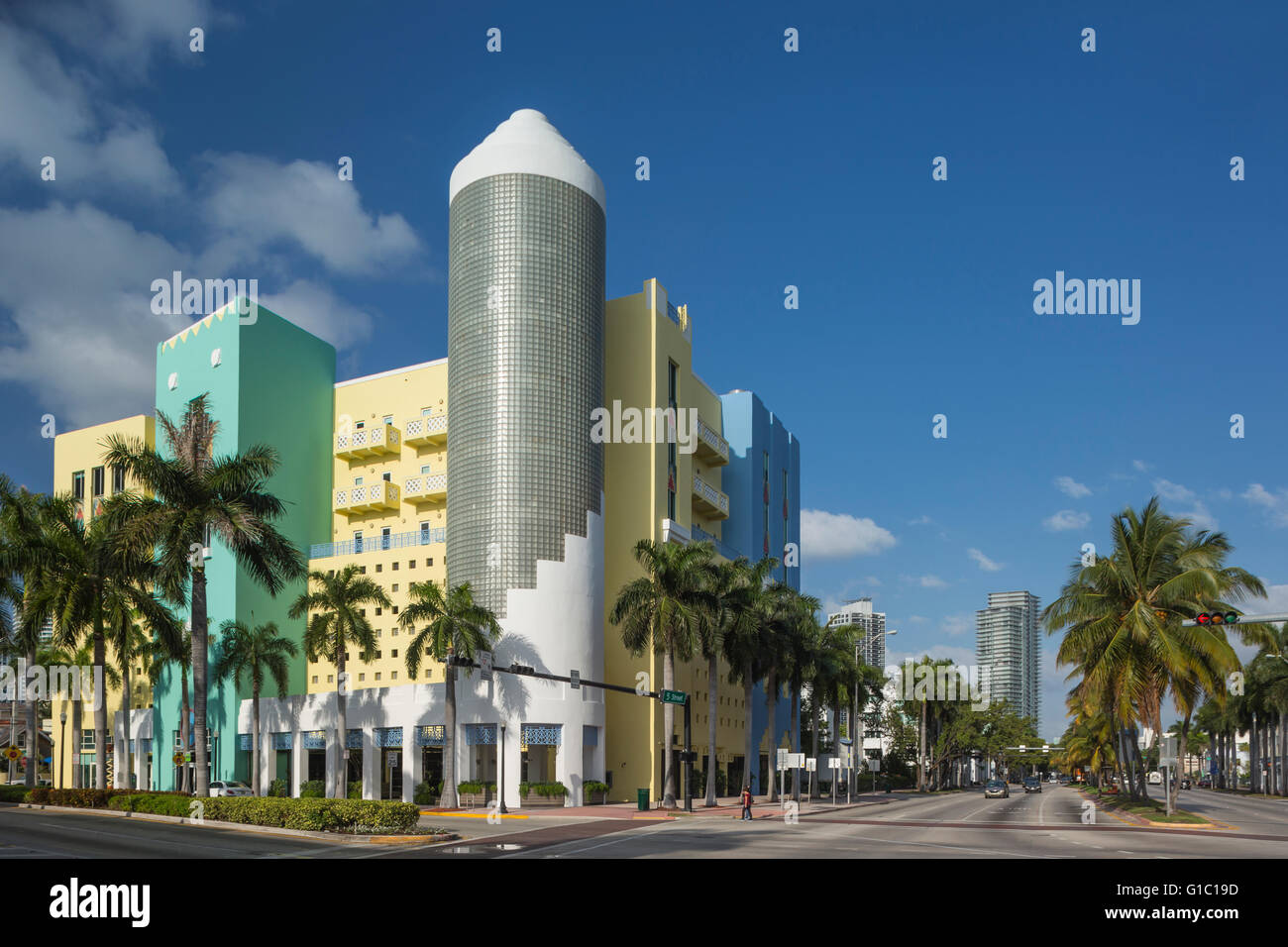 ART DECO STYLE BUILDING 404 WASHINGTON AVENUE SOUTH BEACH MIAMI BEACH FLORIDA USA - Stock Image