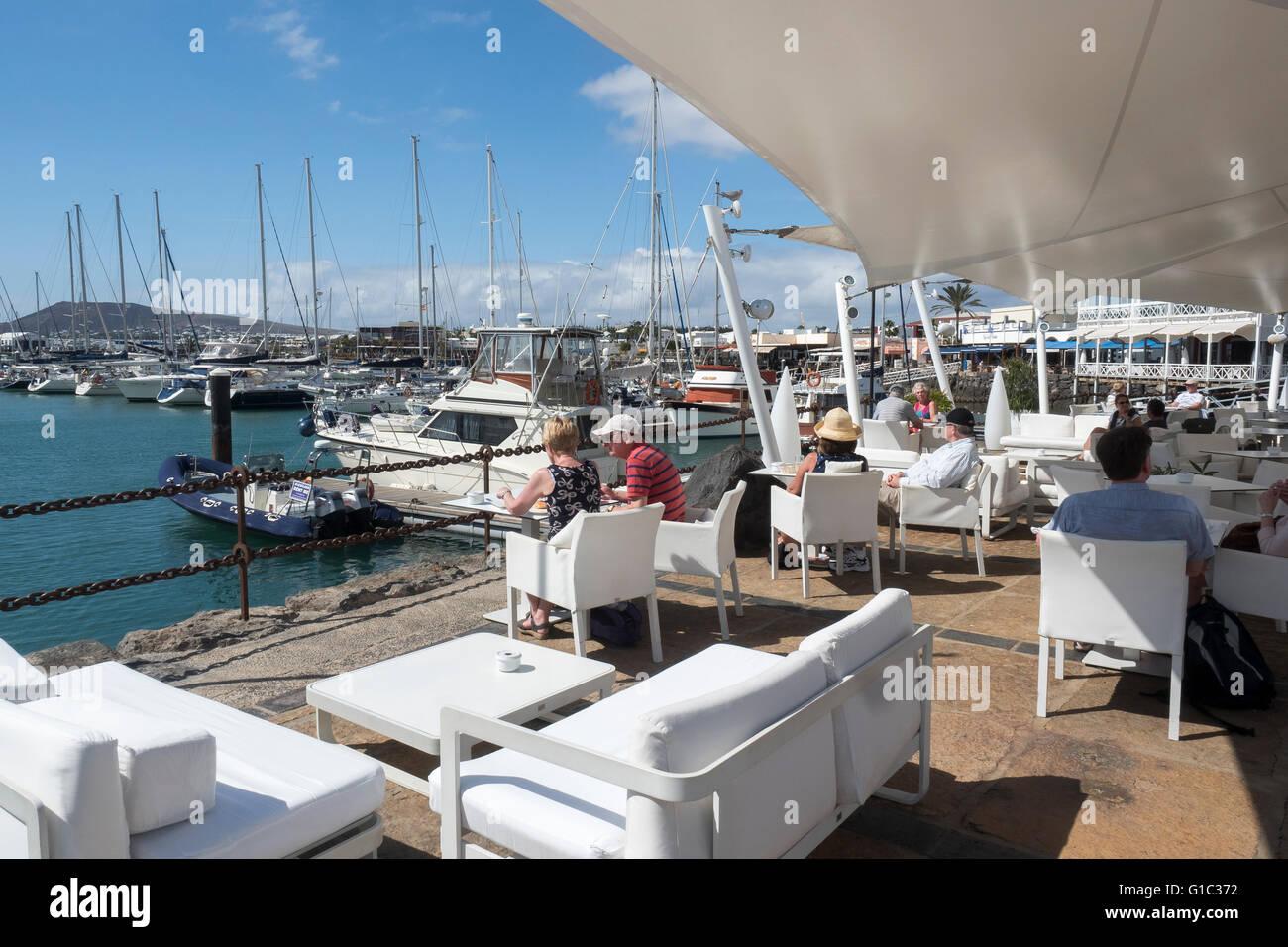 Harbourside Cafe, Playa Blanca, Lanzarote, Canary Islands, Spain - Stock Image