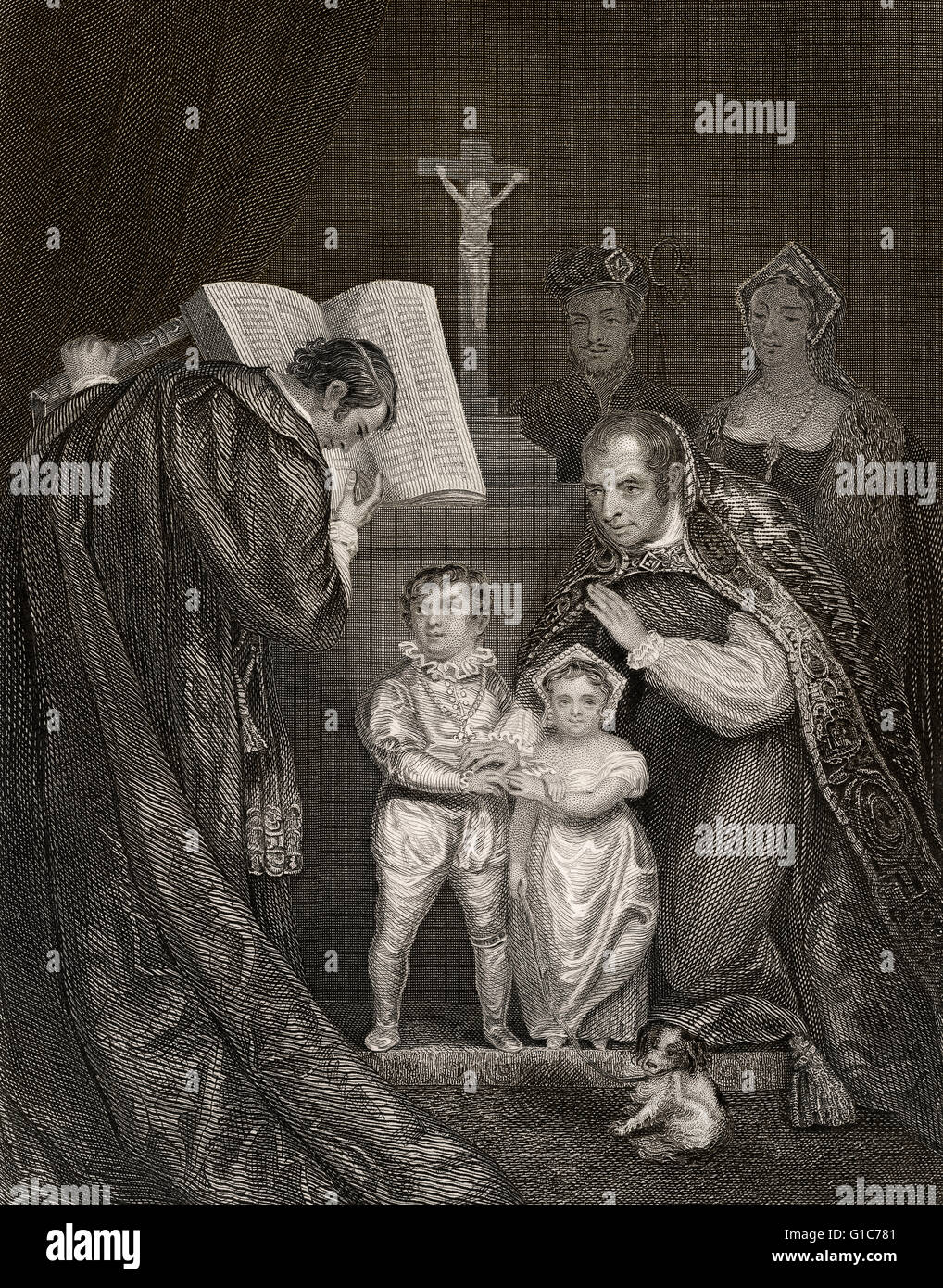 The marriage of Lady Anne Mowbray with Richard of Shrewsbury, Duke of York, St Stephen's Chapel, Westminster, - Stock Image