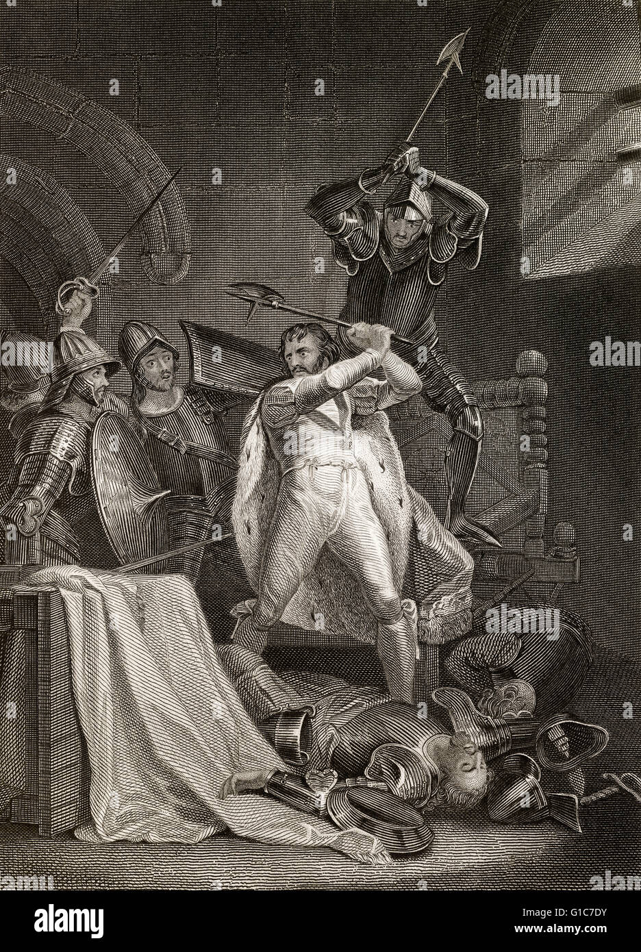 Death of Richard II, The Tragedy of King Richard the Second, a history play by William Shakespeare - Stock Image