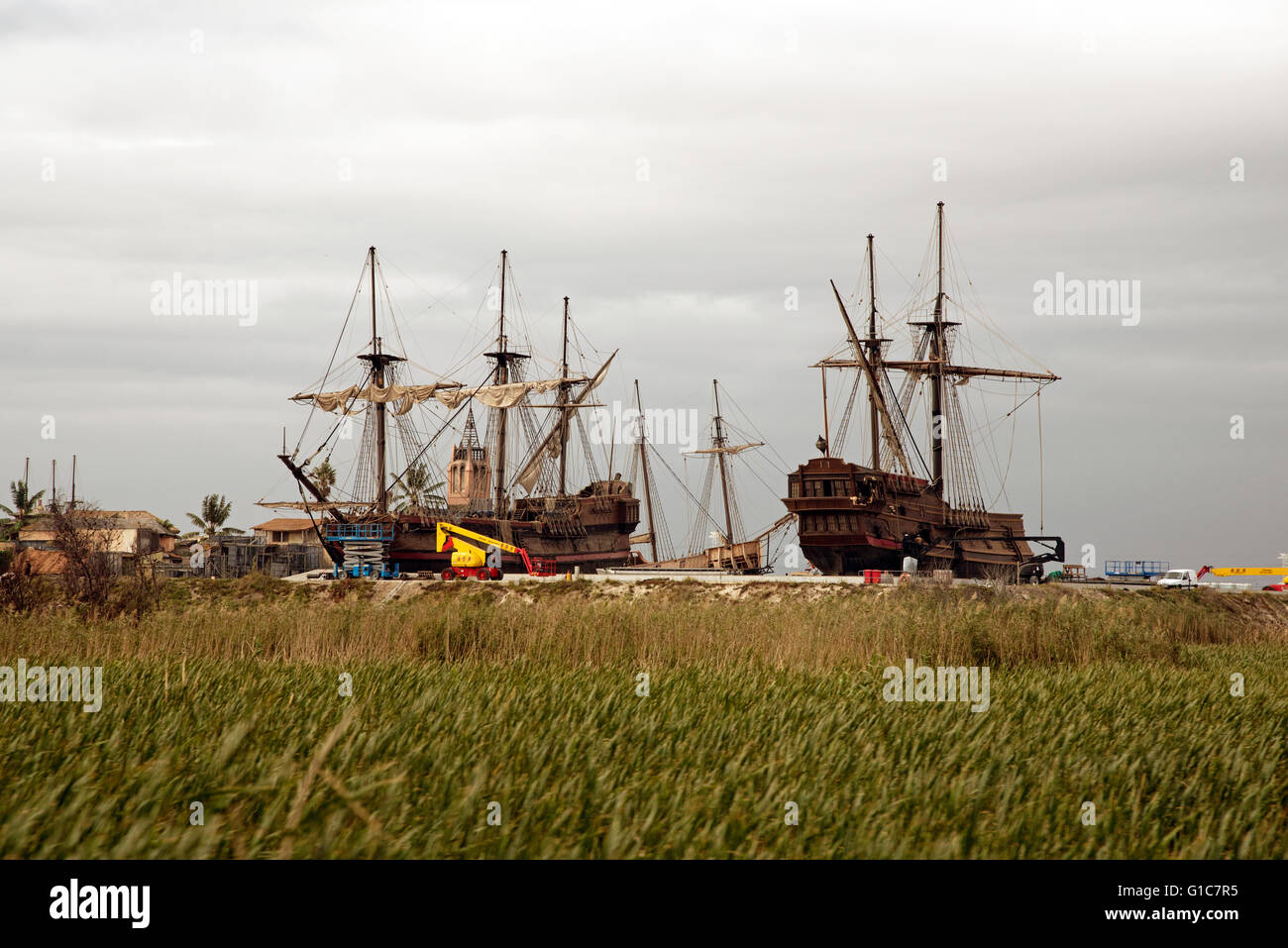 FAURE WESTERN CAPE SOUTH AFRICA . A film set of old sailing ships at Cape Town film studios at Faure near Cape Town - Stock Image