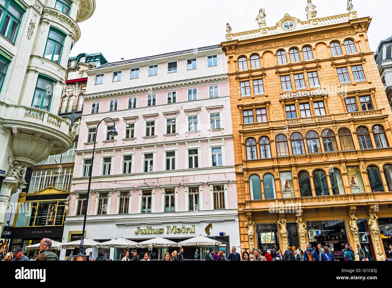 Feinkost- und Delikatessengeschäft Julius Meinl in Wien am Graben; Julius Meinl, fine food, vienna - Stock Image