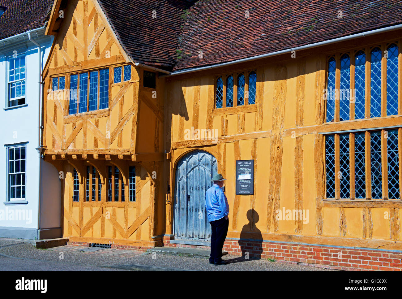 Half-timbered Little Hall, in the village of Lavenham, Suffolk, England UK - Stock Image
