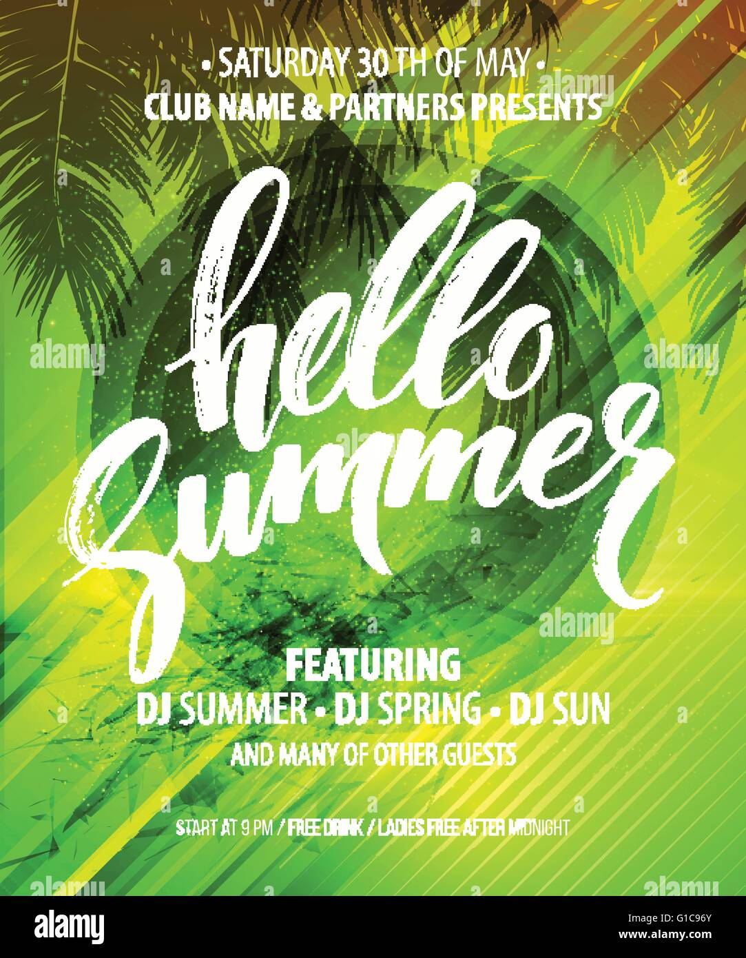 hello summer party flyer vector design stock vector art