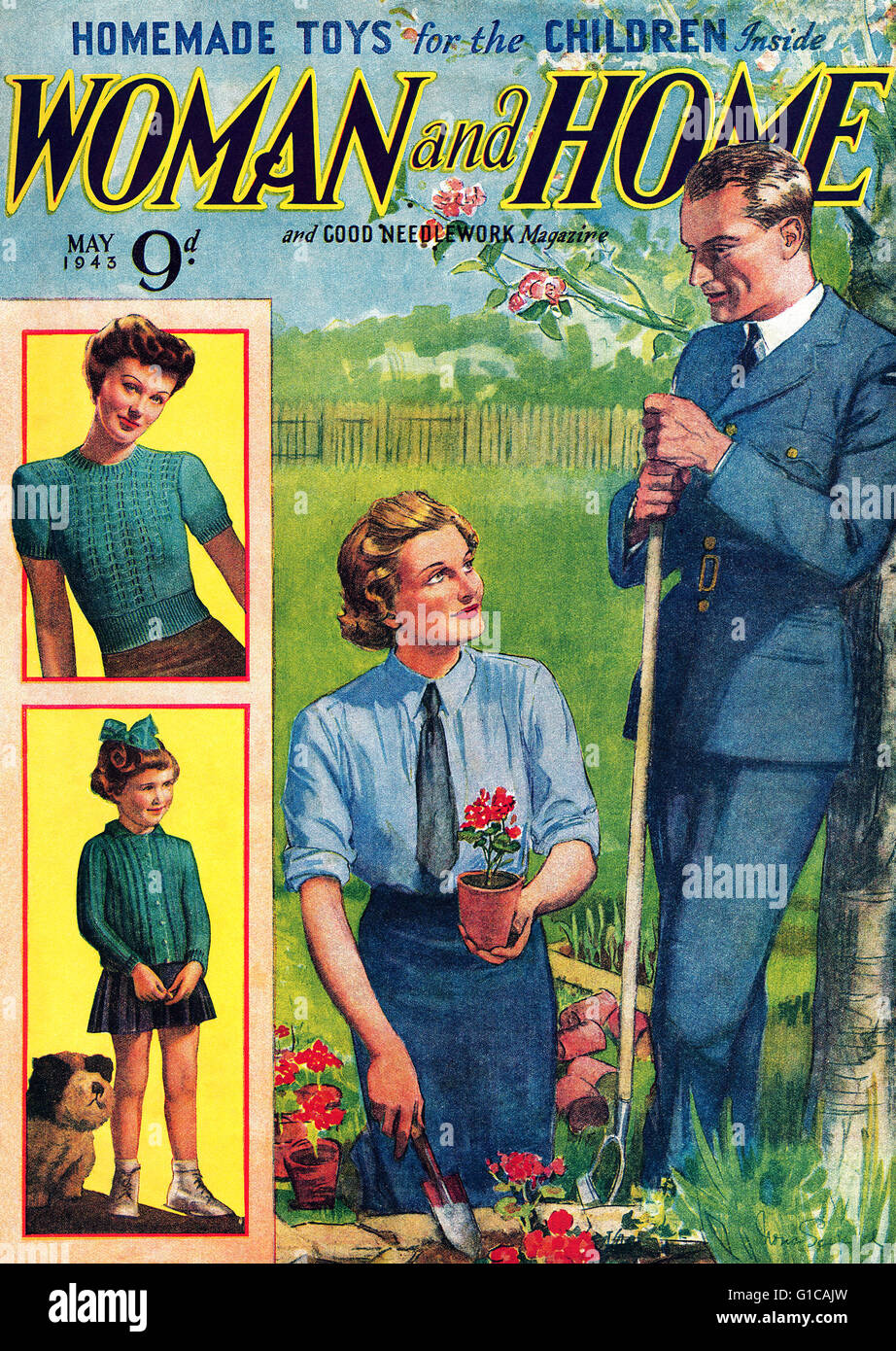 Cover of a wartime issue of Woman And Home magazine from May 1943. - Stock Image
