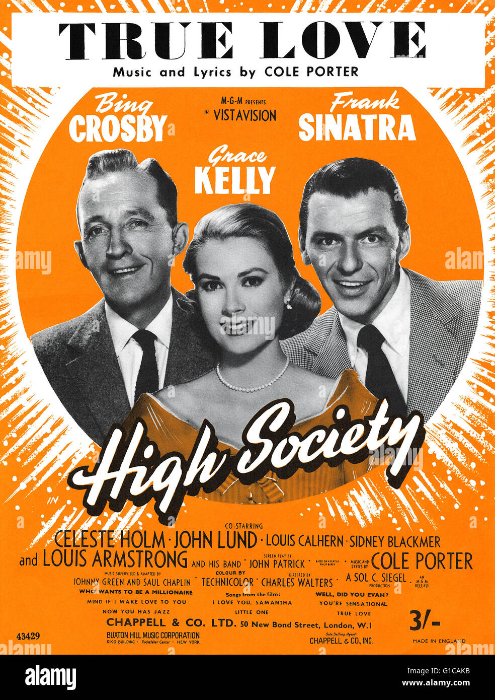 UK sheet music for the Cole Porter song True Love from the 1956 film High Society, starring Bing Crosby, Grace Kelly - Stock Image