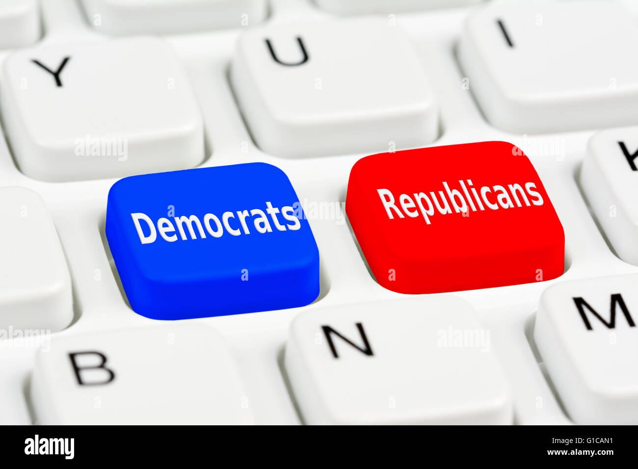 Democrats and Republicans voting buttons on a computer keyboard. - Stock Image