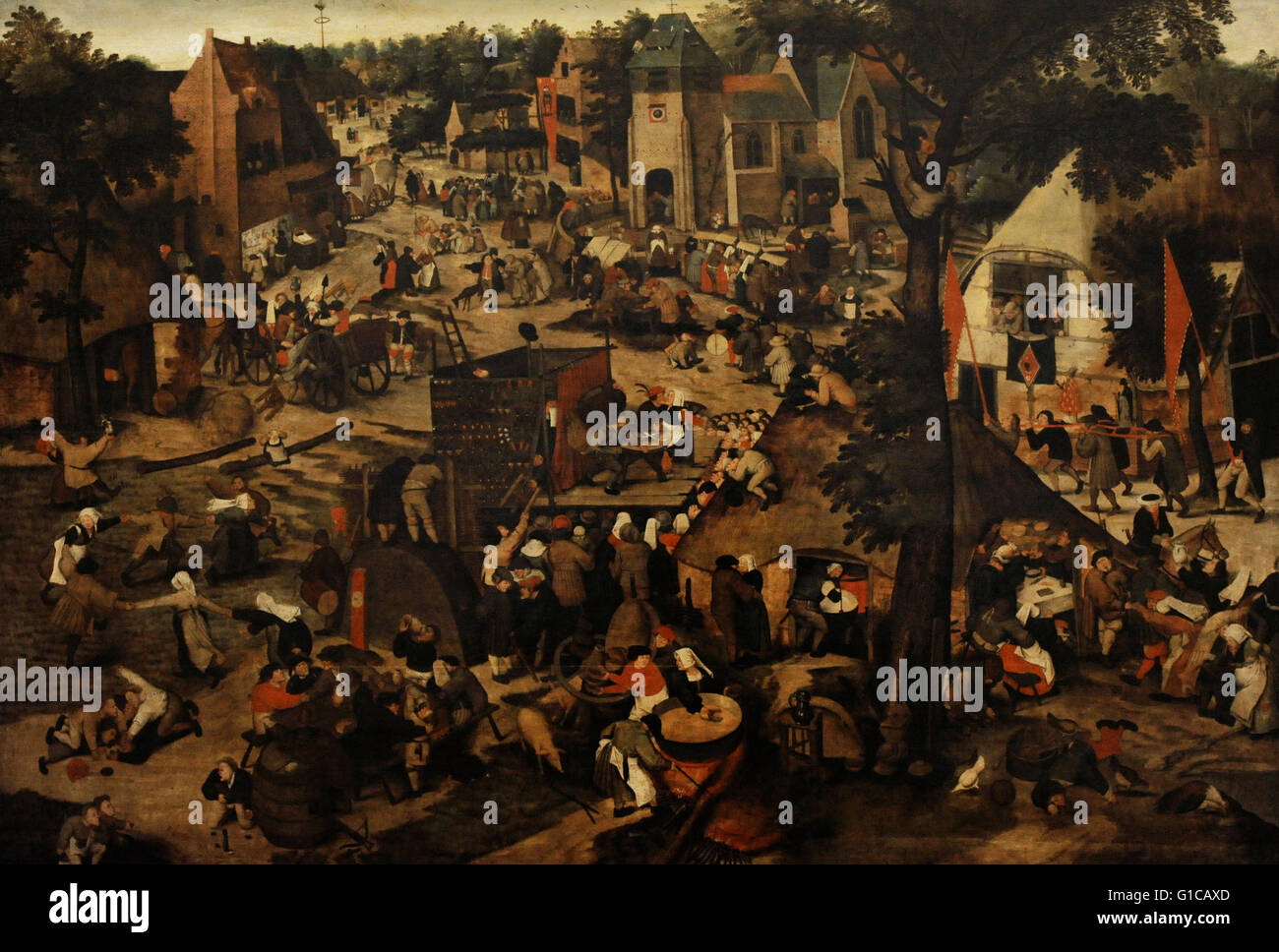 Pieter Brueghel the Younger (1564-1638). Fair with a Theatrical Presentation. First halph of the 17th century. Oil - Stock Image
