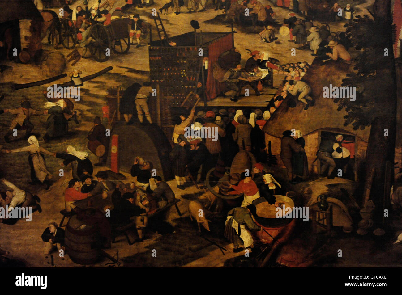 Pieter Brueghel the Younger (1564-1638). Fair with a Theatrical Presentation. First halph of the 17th century. Detail. - Stock Image