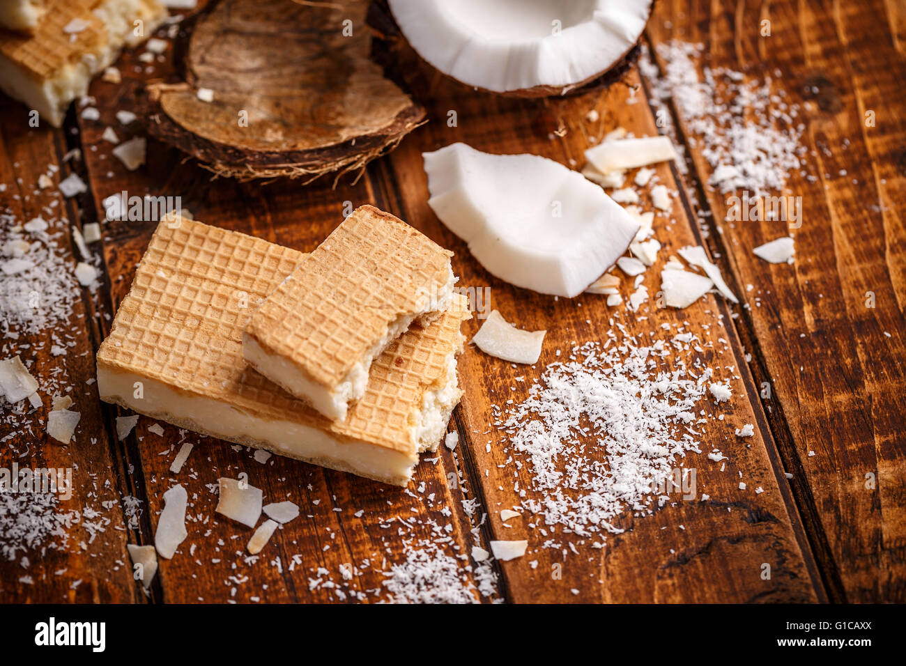 Two sheets of wafers filling with white chocolate - Stock Image