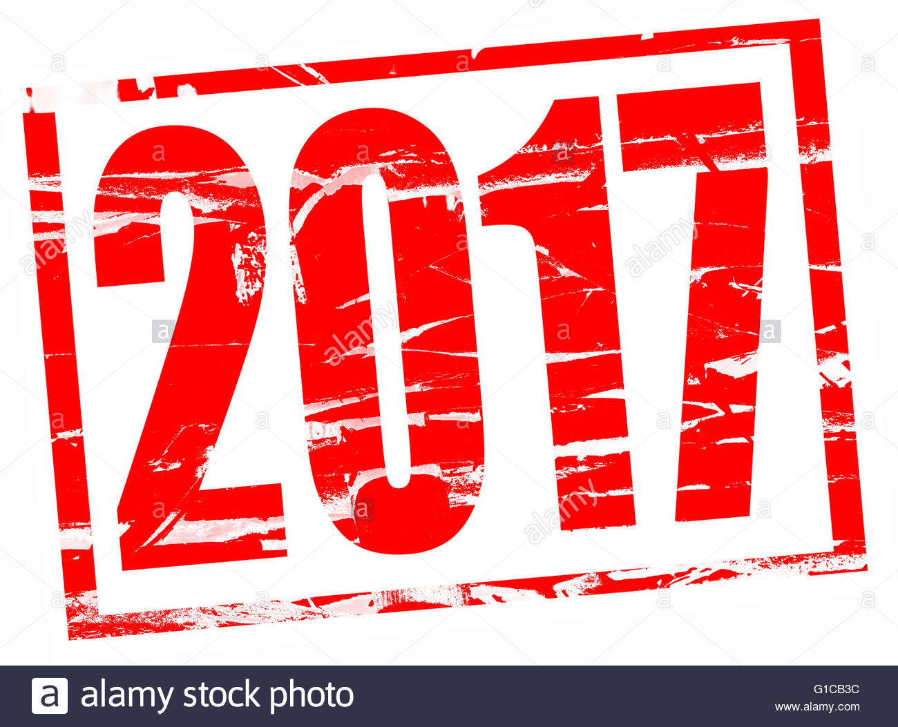 Red rubber stamp effect - 2017 - Stock Image